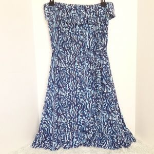 Lilly pulitzer blue strapless dress